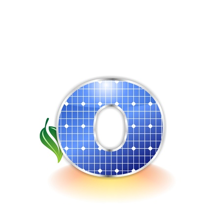 solar panels texture, alphabet letter o icon or symbol photo