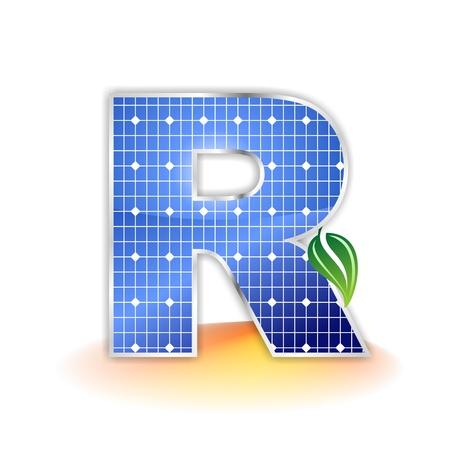 solar panels texture, alphabet capital letter R icon or symbol