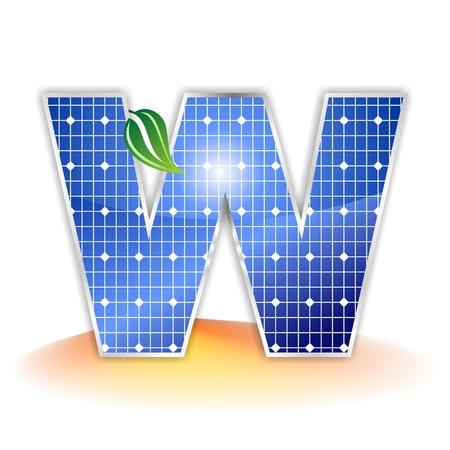 solar panels texture, alphabet capital letter W icon or symbol Stock Photo
