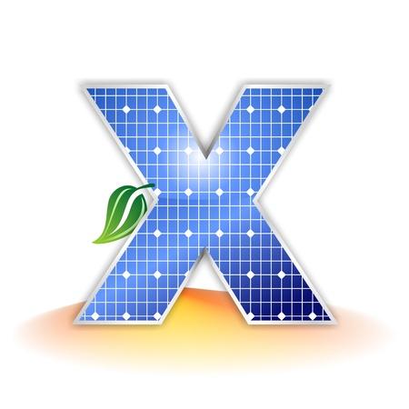 태양 전지 패널의 질감, 알파벳 대문자 X 아이콘 또는 기호 스톡 콘텐츠