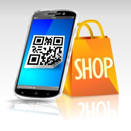 Modern cellphone with QR code icon next to an orange shopping bag  photo