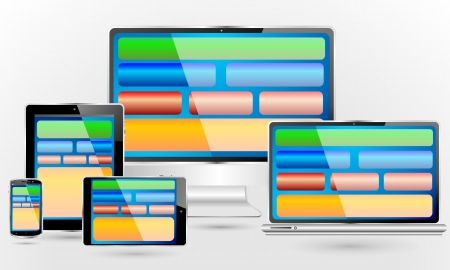 Fully responsive web design  Set of computer and communication devices showing a pc, laptop, tablet pc, mini tablet pc and smartphone  screens showing a colorful fully responsive web design concept