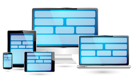 Fully responsive web design  Set of computer and communication devices showing a pc, laptop, tablet pc, mini tablet pc and smartphone  screens showing a blue fully responsive web design concept