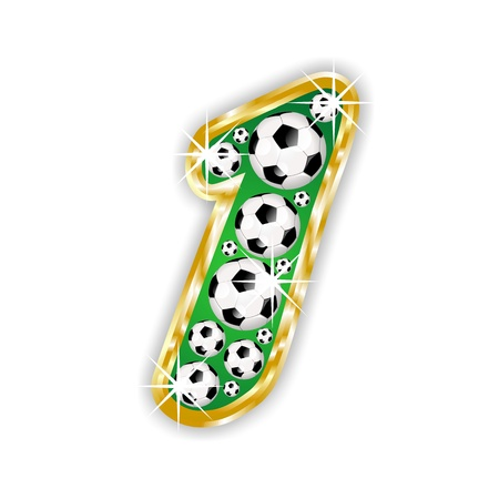 soccer number 1 on field with golden frame Stock Photo