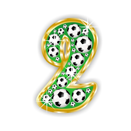 text field: soccer number 2 on field with golden frame