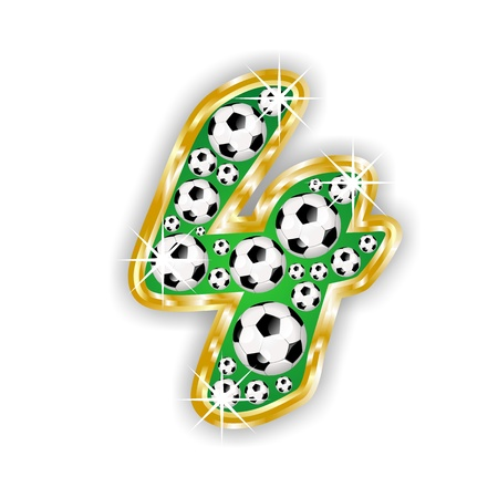 soccer number 4 on field with golden frame Stock Photo