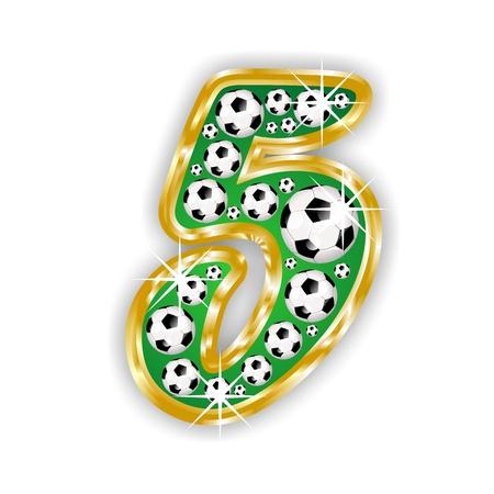 number 5: soccer number 5 on field with golden frame