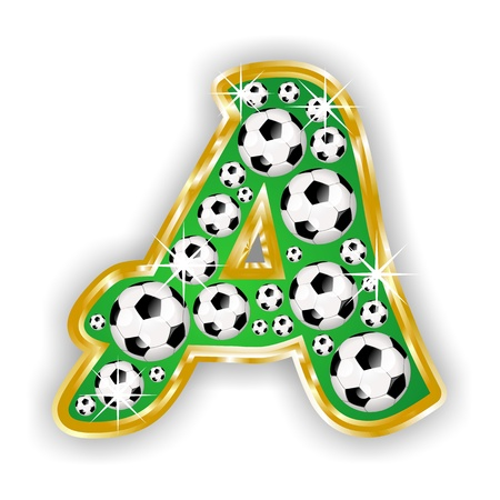 ntilde: soccer capital letter A on field with golden frame Stock Photo