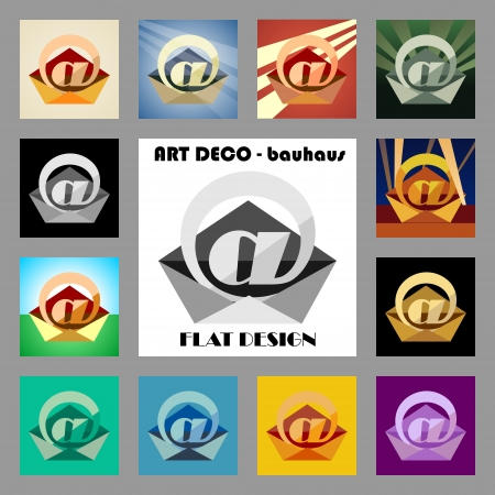 bauhaus: art deco - flat design - contact icon Stock Photo