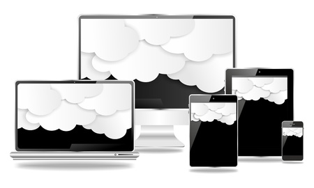 mobile and desktop devices, with black screens and clouds Stock Photo