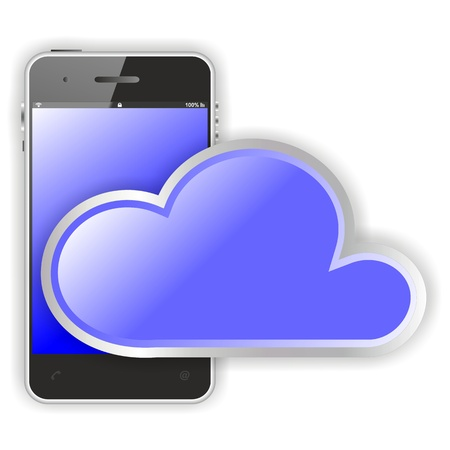 smartphone cloud computing flat design illustration with smartphone-like cloud in front, blue edition illustration