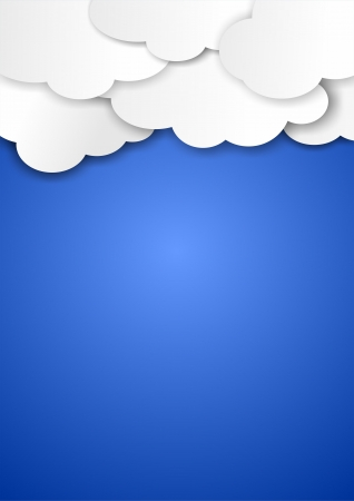 clouds flat design on blue background, vertical Stock Photo - 21114777