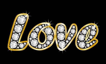 Love, the word composed with diamonds and a golden frame on black background photo