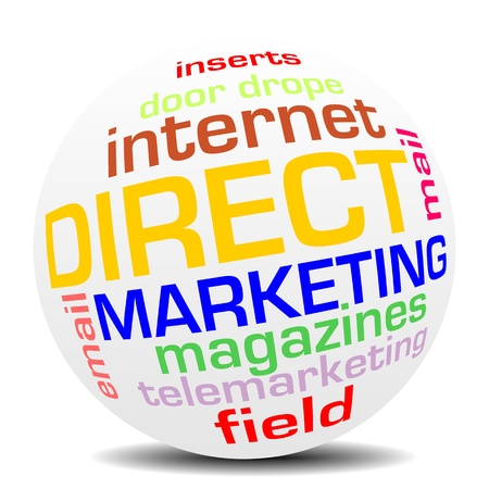 direct: direct marketing word sphere with shadow Stock Photo