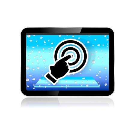 Tablet-PC oder Pad Illustration mit Touchscreen Druckknopf icon
