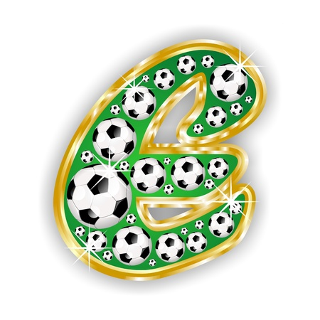 text field: soccer capital letter e on field with golden frame
