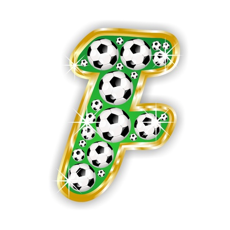 text field: soccer capital letter F on field with golden frame