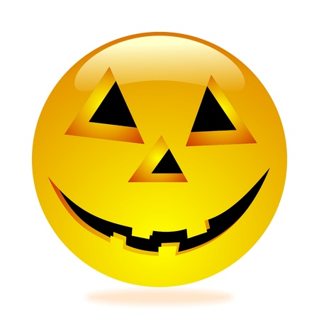 3-D Halloween smiley hoovering in the air with colored shadow, isolated photo