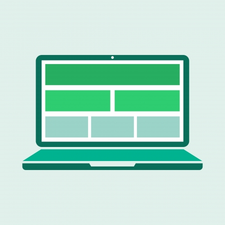 Illustration of a laptop computer with blank rectangles showing on monitor   Green stylized concept with flat design  illustration