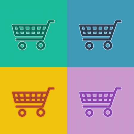 flat design icons - shopping cart photo
