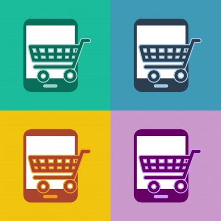 flat design icons - tablet pc shopping - ui or metro design photo