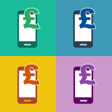 m-commerce flat design smartphone icon for mobile shopping and payment with cellphone and pound sterling currency symbol in 4 different trend colors photo