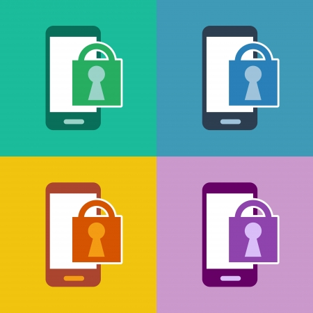 m-commerce flat design smartphone icon for secure login access with cellphone and lock symbol in 4 different trend colors