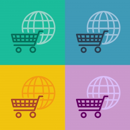 flat design icons - shopping cart  - ui or metro design photo