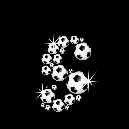 Soccer or football alphabet letter s illustration icon with shiny, reflective soccerballs or footballs on black background  illustration