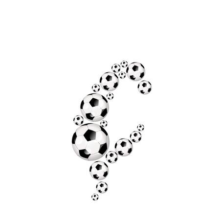 Soccer alphabet letter Ç illustration icon with soccerballs or footballs Zdjęcie Seryjne