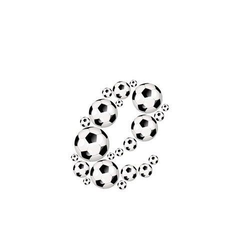 athletic type: Soccer alphabet letter e illustration icon with soccerballs or footballs Stock Photo