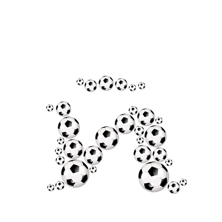 ntilde: Soccer alphabet letter � illustration icon with soccerballs or footballs