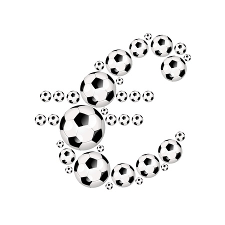 Soccer currency symbol for the Euro, illustration icon with soccerballs or footballs illustration