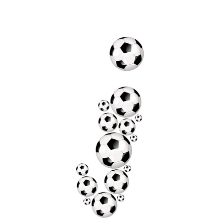 Soccer alphabet letter j illustration icon with soccerballs or footballs illustration
