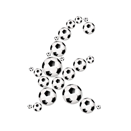 athletic type: Soccer alphabet letter k illustration icon with soccerballs or footballs