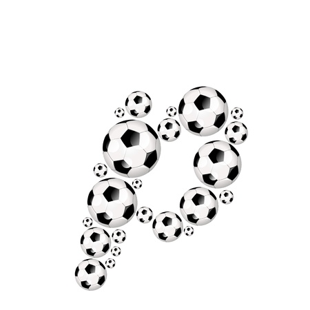 athletic type: Soccer alphabet letter p illustration icon with soccerballs or footballs