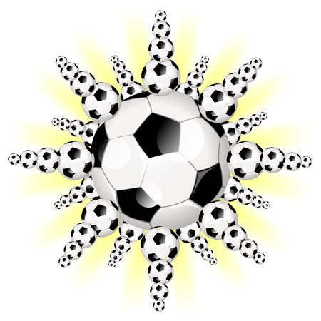 Fantasy illustration of a Sun, Star or Planet like Soccer Ball illustration