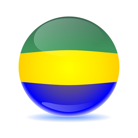 gabon: Gabon flag sphere colored shadow