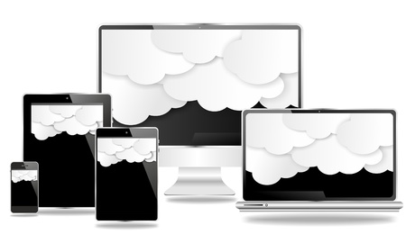 desktop and mobile devices with black screen and clouds photo