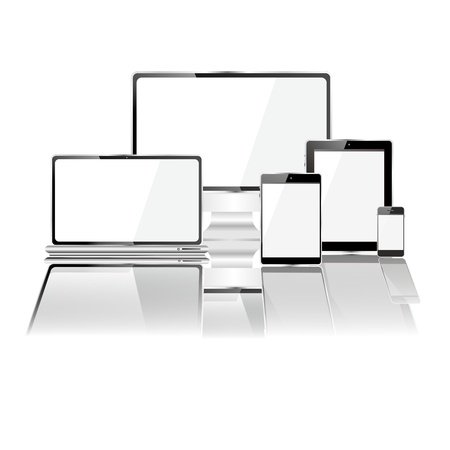 extra large: desktop and mobile devices with white screens and extra large mirror reflection