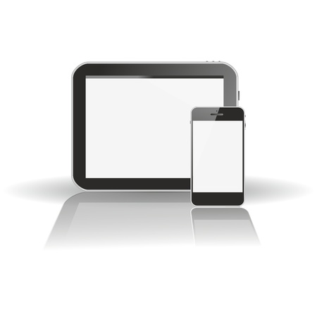 tablet pc horizontal, smart phone vertical with a XXL mirror reflection in front and a floating or hovering shadow  photo