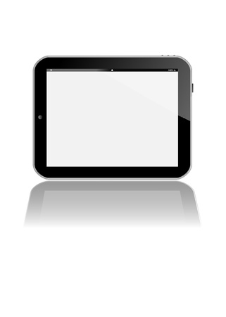 tabletpc: horizontal pad or tablet-pc with a bright reflection on the top right hand side and XXL mirror like front side reflection Stock Photo