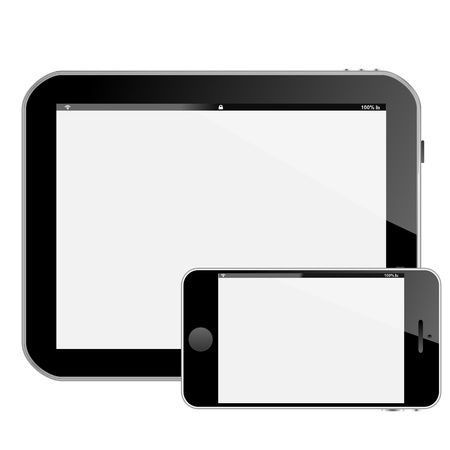 smartphone tablet pc or pad horizontal and also horizontal smart phone with white reflective screens Stock Photo