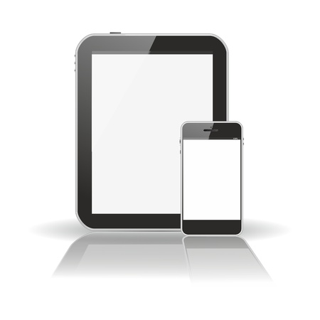 extra large: smartphone in front of tablet pc, both in vertical position and blank, white screens with a extra large mirror reflection and a floating shadow