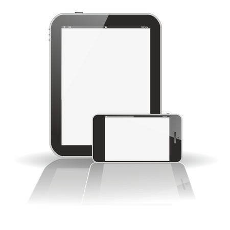 smartphone tablet pc smartphone with large reflective shadow, isolated on white background photo