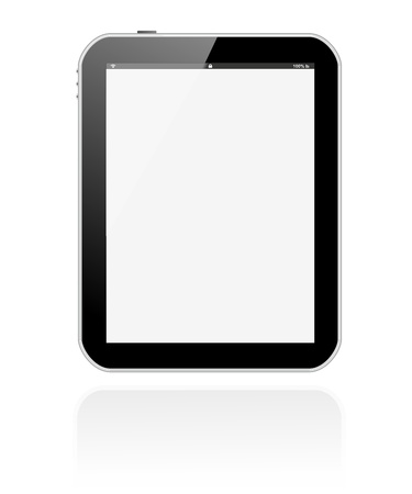 tablet pc vertical with large, soft tone reflection shadow photo