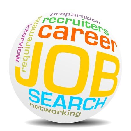 job search keywords, word or tag cloud sphere