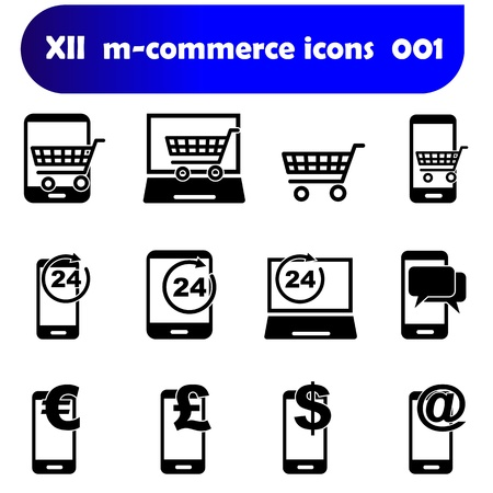 m-commerce flat design icons 001 with mobile devices as there are smartphones, laptop and tablet pc as well known as pad Zdjęcie Seryjne - 21107332