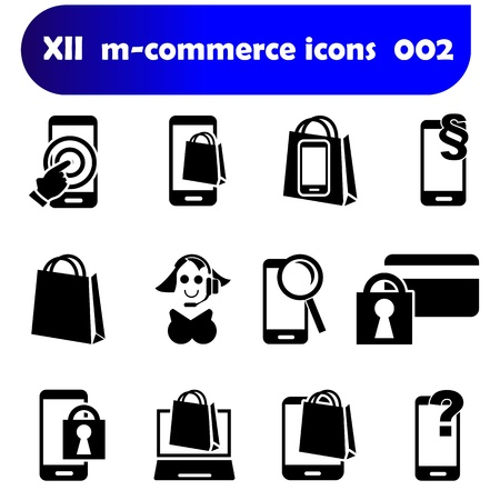 m-commerce flat design icons 002 with mobile devices as there are smartphones, laptop and tablet pc as well known as pad Zdjęcie Seryjne - 21107333