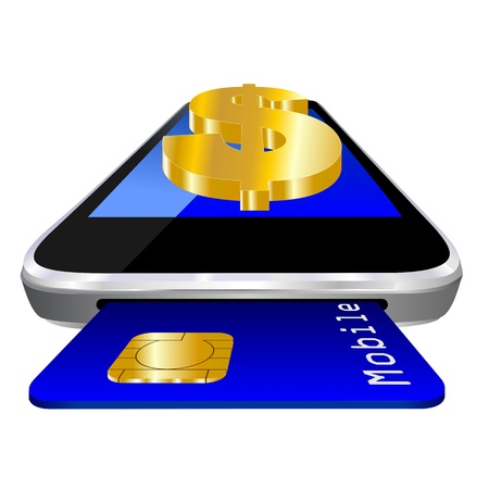 mobile payment illustration with smartphone, credit card an the currency symbol of  Dollar symbol  illustration